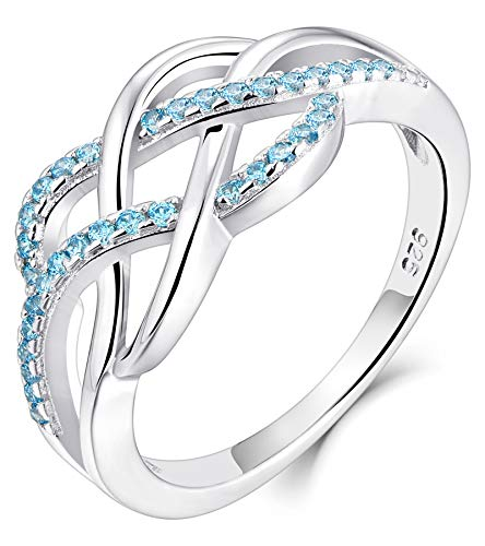 YL Celtic Knot Rings 925 Sterling Silver Twisted Knot Ring 18k White Gold Plated Created Aquamarine Infinity Statement Rings-size8