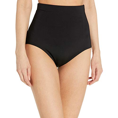 Anne Cole Women's Color Blast Solids Super High Waist Shape Control Bikini Bottom, Black, Medium