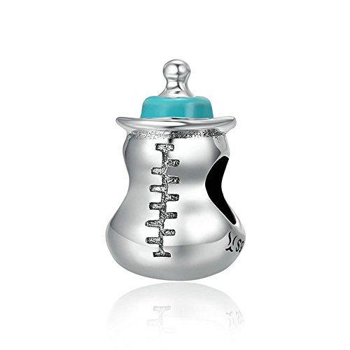 Bebé Botella Autentica Plata de Ley 925 Bebé Leche Botella Memoria Abalorios Abalorios Abalorio para Mujer Pulsera Collar DIY Joyería