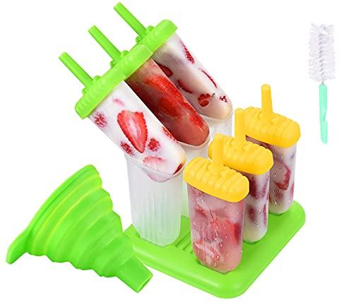Moule à Glace en Silicone, Moules à Glace 6 Pièces Sans BPA, Moule à Crème Glacée Bricolage Facilement Amovible, Brosse de Nettoyage, Silicone Flexible
