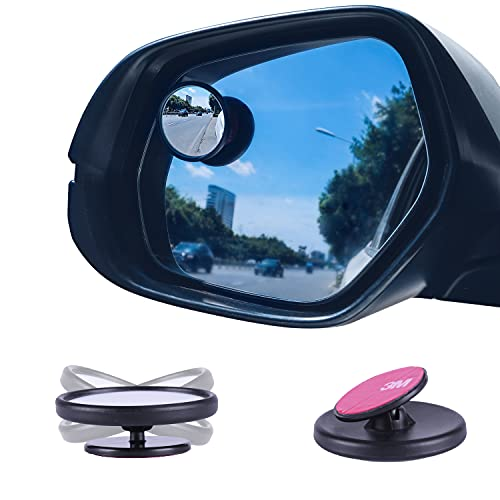 LivTee Black Framed Round Blind Spot Mirror, HD Glass and Wide Angle Rearview...