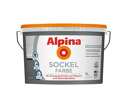 Alpina 5 L. Sockelfarbe, Abrieb und Reinigungsfähig, speziell für Sockel und Betonabsätze, Schiefer Matt