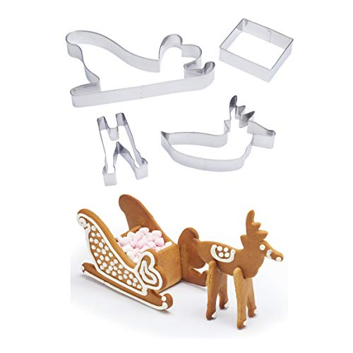 Sweetly Does It 3D Christmas Cookie Cutters, Santa's Sleigh Design, Metal