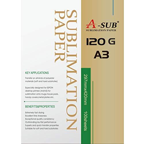 A-SUB Carta per sublimazione A3, 297x420 mm, 100 fogli, 120 g/m², Compatibile con stampanti a sublimazione EPSON, SAWGRASS, RICOH, BROTHER