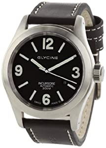 Glycine Incursore Automatic Stainless Steel Watch with Black Leather Strap image