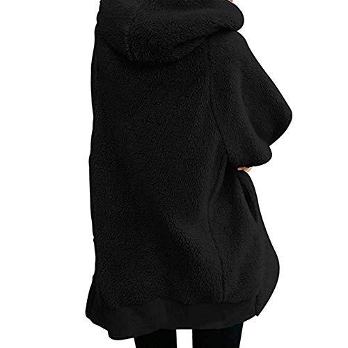 riou Mujer Sudadera Tallas Grandes Chaqueta con Capucha Caliente y Esponjoso Tops Bolsillo Casual Cremallera Felpa Suéter Manga Larga Ropa de Abrigo Mujer