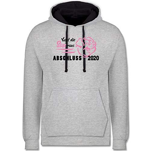 Shirtracer Abi & Abschluss - Lasst die Sau Raus - Abschluss 2020-4XL - Grau meliert/Navy Blau - Schwein - JH003 - Hoodie zweifarbig und Kapuzenpullover für Herren und Damen
