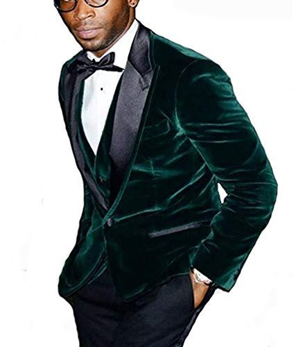 Groomsmen Peak Black Lapel Groom Tuxedos Green Velvet Men Suits (Jacket+Pants+Tie+Vest) L