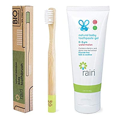 Natural Bamboo Baby Toothbrush Set Fluoride-Free Toothpaste Safe to Swallow Vitamin C Enriched for 6 to 12 Months and Up Infant Toddler Toothbrush BPA-Free Biodegradable (1 Toothbrush 1 Toothpaste)