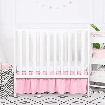 TILLYOU Mini Crib Skirt Ruffled Microfiber Portable Crib Bed Skirt for Baby Girls and Boys 24'  X 38'' 10.5 ' Drop Pink