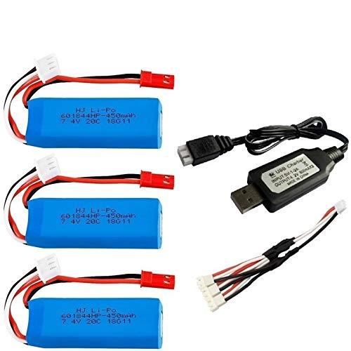 IENPAJNEPQN 7,4V 450mAh Lipo Akku und USB-Ladegerät for WLtoys K969 K979 K989 K999 P929 P939 RC Autoteile 2s 7,4V Batterie 3pcs (Color : Navy Blue)
