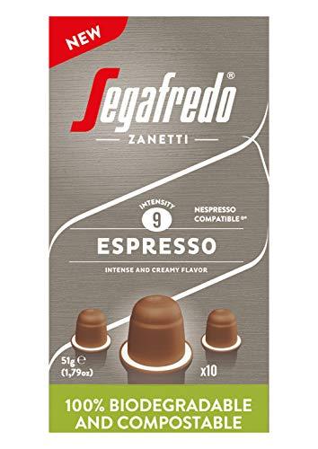 Segafredo Zanetti 10 kompostierbare Nespresso Espresso-Kapseln, stark und cremig - 1 Packung mit 10 Kapseln, 51 g