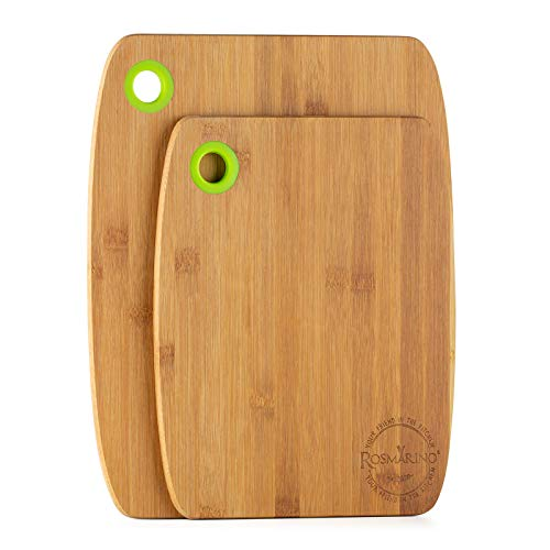 Rosmarino Juego de Tablas de Cortar de Bambú - Tabla de cortar 28x22x1cm y Tabla de cortar grande 34x28x1cm de Bambú de Primera Calidad