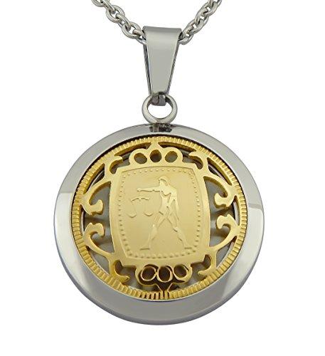 Hanessa Gravierte silberne Waage Sternzeichen-Halskette aus Edelstahl mit Datums-Gravur auf der Rückseite. Geschenk für Waagen in Gold