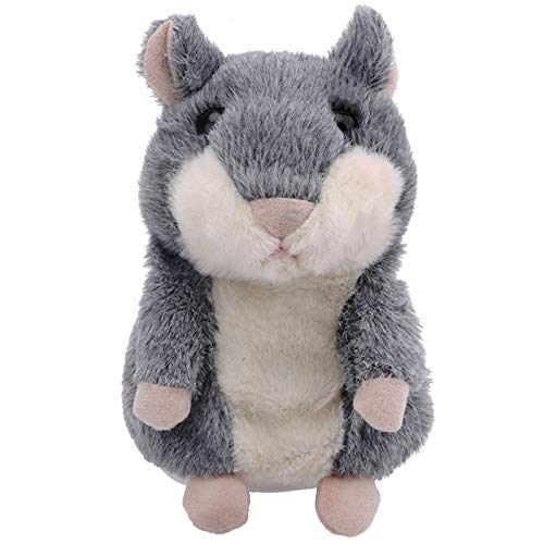 Qwifyu Talking Hamster, Interactive Stuffed Plush Animal Talking Toy Cute Sound Effects with Repeats Your Said Voice, Best Buddy for Kids Gift Age 3+ (Gray)