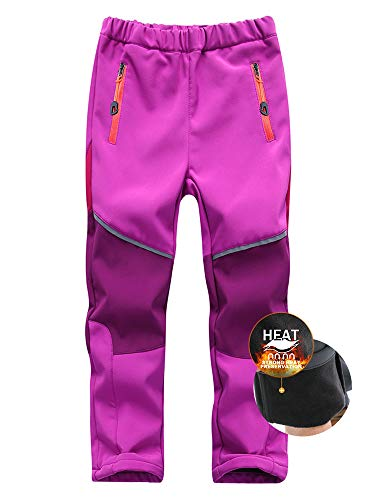 Asfixiado Kids Boys Girls Ski Waterproof Fleece Lined Soft Shell Pants Snow Insulated Windproof Winter Pants Hiking,Camping,Travel #1510 Red/Purple-M