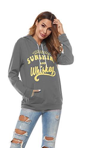 HUILAN Women's Long Sleeve Graphic Letter Print Sweatshirt Vintage Hoodies 3-Grey S