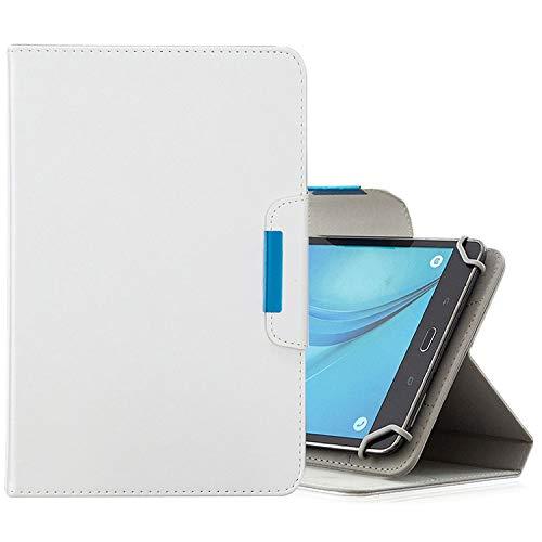 MOYOFEE JYMD AYYD - Funda universal para tabletas de 10 pulgadas, color sólido, horizontal, con ranuras para tarjetas, soporte y cartera (color: blanco)