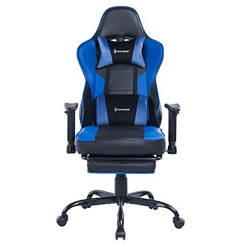 Massage Gaming Chair Racing Office Chair - Adjustable Massage Lumbar Cushion, Retractable Footrest and Arms High Back Ergonomic Leather Computer Desk Chair