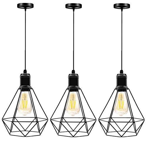 Lampada a sospensione Vintage,industriale Lampadario Plafoniera, nero geometria battuto Retro lampadario E27 in ferro adatto Regolabile per sala da pranzo cucina loft bar.(No bulb)