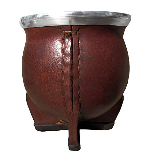 Mate ceramico Forrado en Cuero con Boquilla Ancha de Acero