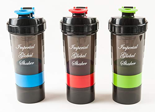 Best Value Protein Shaker Bottle (3 Pack) 500 ml Capacity with Two Storage Containers and Pill Tray. BPA Free.
