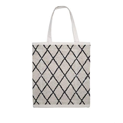Katoen Canvas Tas Berber Shaggy Tapijt Geometrische Zwarte en Witte Schouder Boodschap Winkelzakken Doek Winkeltas