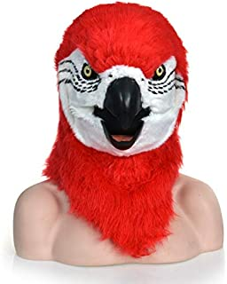 WNGCAR AU Fashion Mouth Moving Furry mask red Parrot Animal Head mask (Color : Red)