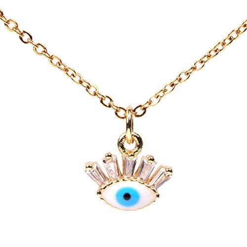 WYFLL Accessori Americani Micro-Intarsiato Zircone Occhio del Diavolo Collana Occhio Azzurro Catena Clavicola Femminile
