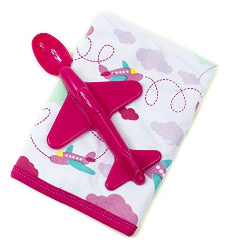 Baby Lätzchen + Flugzeug Löffel in Rot oder Blau / BPA Frei / Jungen o. Mädchen (Rot)