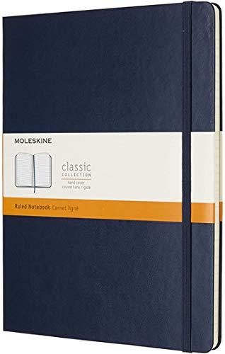 Moleskine - Cuaderno Clásico con Páginas Rayadas, Tapa Dura y Goma Elástica, Color Azul Zafiro, Tamaño Extra Grande 19 x 25 cm, 192 Páginas