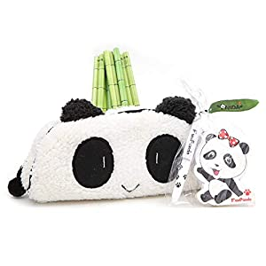 13 Pcs Panda Theme Stationery Set Include 1 Pencil Case with 10 Bamboo Pencils 1 Panda Memo Pad and 1 Mini Ball-Point Pen for Student Kids Study Gift School Prize