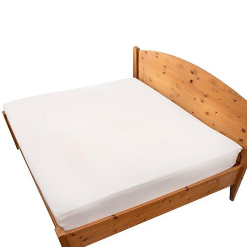 ベッドメイクス ボックスシーツ ワイドキング サイズ 綿 100% (超長綿) 200 x 200 x 30 ホワイト 日本製 綿サテン織り シングル 2 台 並べるサイズ / マットの厚み25cm程度まで