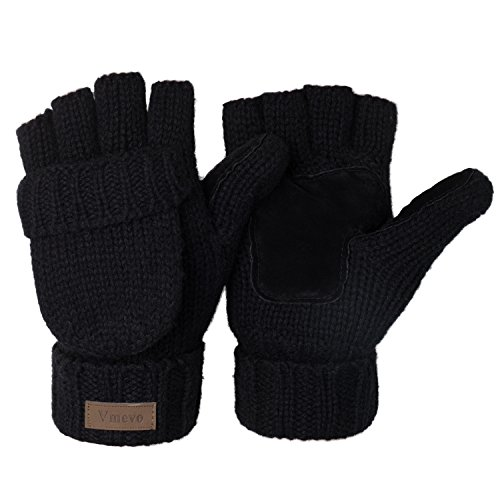 ViGrace Winter Knitted Convertible Fingerless Gloves Wool Mittens Warm Glove for Women and Men