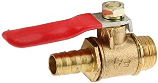 2X Brass Ball Valve 1/4 Male to 5/16 Barbed Hose Tail Handle Shut-Off Valve