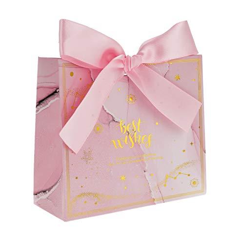 Flowow - 50 bolsas de regalo con diseño de flores rosas para caramelos, ideal para bodas, nacimientos, graduaciones y Navidad
