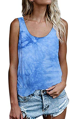 Damen Shirts Ärmellose Sommer Tunika Loose Fit Tank Tops (964Hellblau, Small)