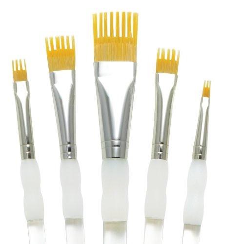 Aqualon Royal and Langnickel Wisp Short Handle Paint Brush Set, Flat, 5-Piece