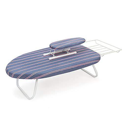 LXYA Tablero de Planchado de Viajes, Plancha de Metal Plegable, Tabla de Planchado Ligera y pequeña con Tapa, Ahorro de Espacio con Cubierta de Tela de algodón (Color : B)