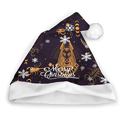 ZVEZVI Patrn sin Costuras Dios Egipcio Anubis Scorpion Beauty Fashion Santa Hat Navidad Santa Hat Felpa Corta con puos Blancos Tela de Felpa Sombrero de Navidad para Adultos