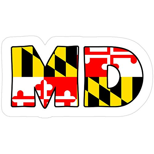 Sticker Vinyl Decal for Cars, Water Bottle, Fridge, Laptops Maryland Flag Abbreviation Stickers (3 Pcs/Pack)