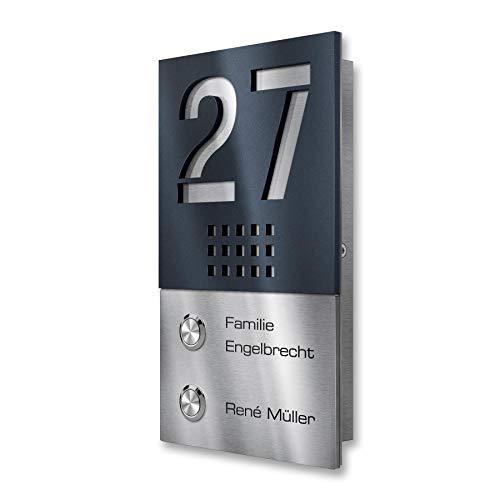 Metzler Funkklingel aus V2A Edelstahl - Zweifamilienhaus Kabellose Klingel inkl. Gravur - Hohe Reichweite - zur Aufputz-Montage, Anthrazit RAL 7016