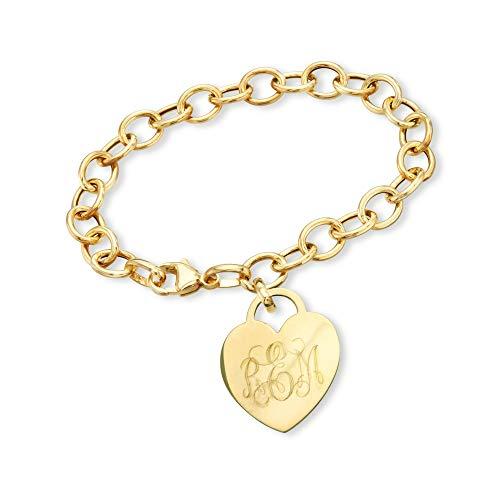 Ross-Simons Monogram Italian 14kt Yellow Gold Heart Charm Bracelet. 7 inches