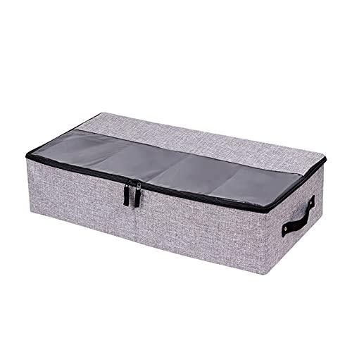 RoxNvm Bolsa de almacenamiento debajo de la cama, Cajas Almacenaje Ropa, Bolsa de tela para almacenamiento debajo de la cama con cremalleras y ventana transparente para ropa, manta, zapatos (gris)