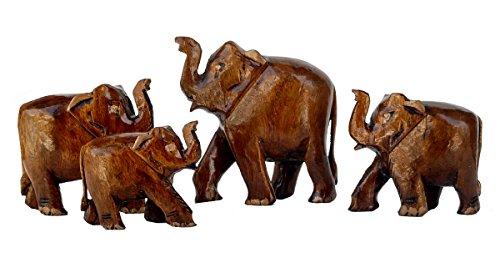 Rastogi artesanías de Madera Familia de Elefantes de 4Regalos Elefante con Aspecto Antiguo Souvenir decoración para el hogar, Figura Coleccionable