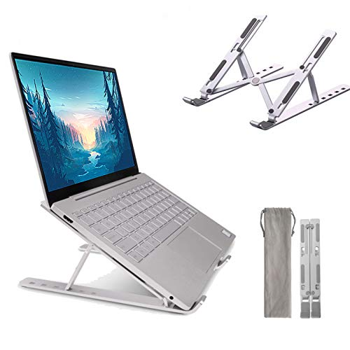AiRKiSY laptop stand, tablet support, aluminum laptop stand, foldable portable macbook stand, multi-angle adjustable laptop stand, vertical stable PC riser for all