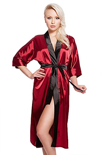 VA-Fashion Edler Morgenmantel Kimono aus Satin weinrot rot Größe XXL
