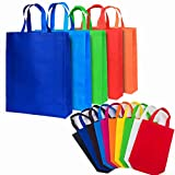 DZTIAN 26 Pack Reusable Non Woven Gift Bags with Handles Party Bags Fabric Tote Bags Treat Bags for Birthday Favors, Snacks 10 Colors (10 Colors, A-S(11.8×13.8×4))