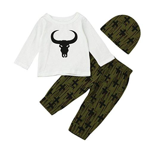 Hirolan Kindermode Neugeboren Baby Junge Tops + Pant + Cap Lange Hülse Kleider Karikatur Drucken Outfits Set Weiß Babykleidung Junge (90CM, Weiß)