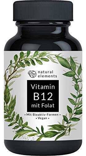 Vitamin B12-180 Tabletten - Hochwertig durch beide Aktivformen + Depot + Folat (5-MTHF aus Quatrefolic®) - Vegan, hochdosiert
